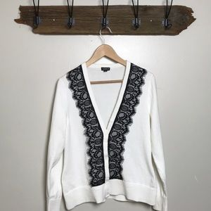 Torrid Cardigan Sweater White & Black Lace Front